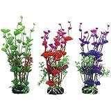 Vivifying Aquarium Artificial Plants, 3 Pack 7.8inch Tall Plastic Plants for Fish Tanks