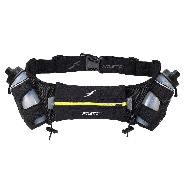 Fitletic  12 Oz Hydration Belt, Black/Yellow, Small/Medium