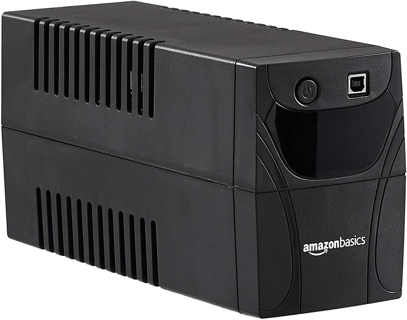 Amazon Basics - Fuente de alimentación ininterrumpida, 850 VA, 4 tomas IEC, con protección contra sobretensiones