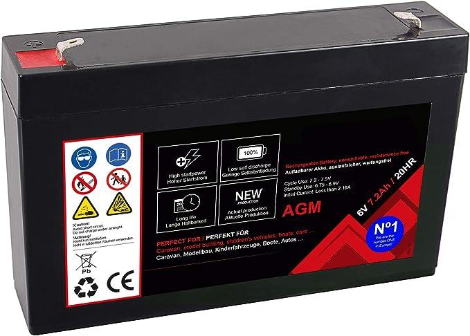 Premium Akku Für Agm Blei 6 Volt 7 2ah 20 Stunden Batterie Bleiakku Bleigel Wartungsfrei