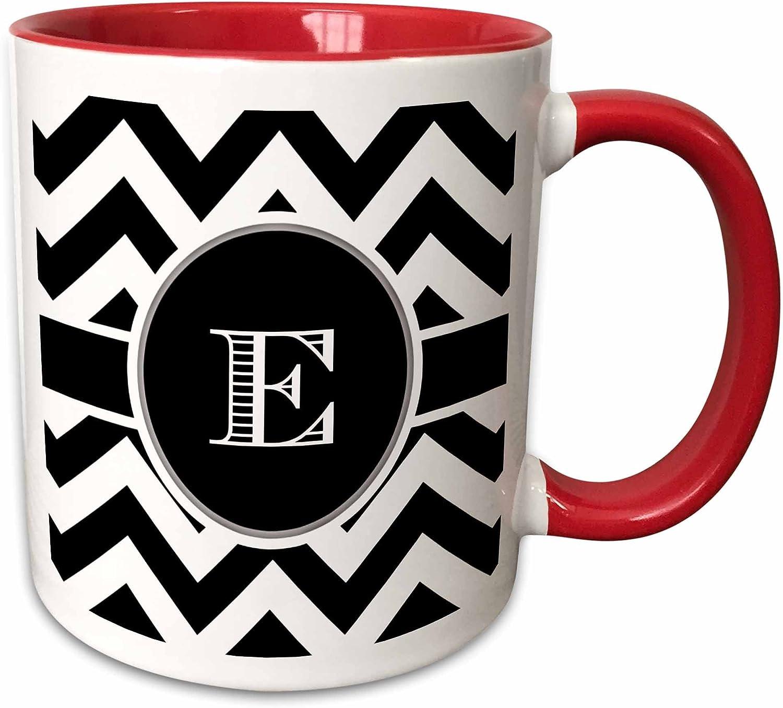 3dRose Chevron Monogram Initial E Mug, 11 oz, Black/White/Red
