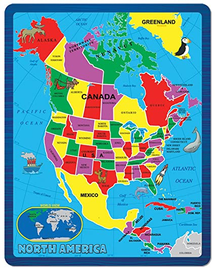 Map Of North America With States.Continent Puzzle North America 55 Piece