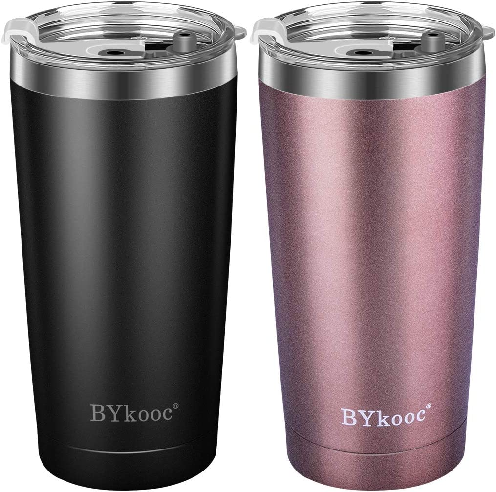 20 oz Tumbler with lid,BYkooc Stainless Steel Travel Coffee Mug and Straw,Vacuum Insulated Tumbler Cup,Double Wall Coffee Tumbler for Home,Office(Black + Rose Gold)