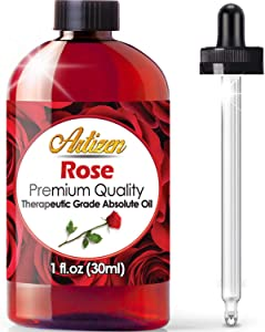Artizen Rose Essential Oil (100% PURE & NATURAL - UNDILUTED) Therapeutic Grade - Huge 1oz Bottle - Perfect for Aromatherapy, Relaxation, Skin Therapy & More!