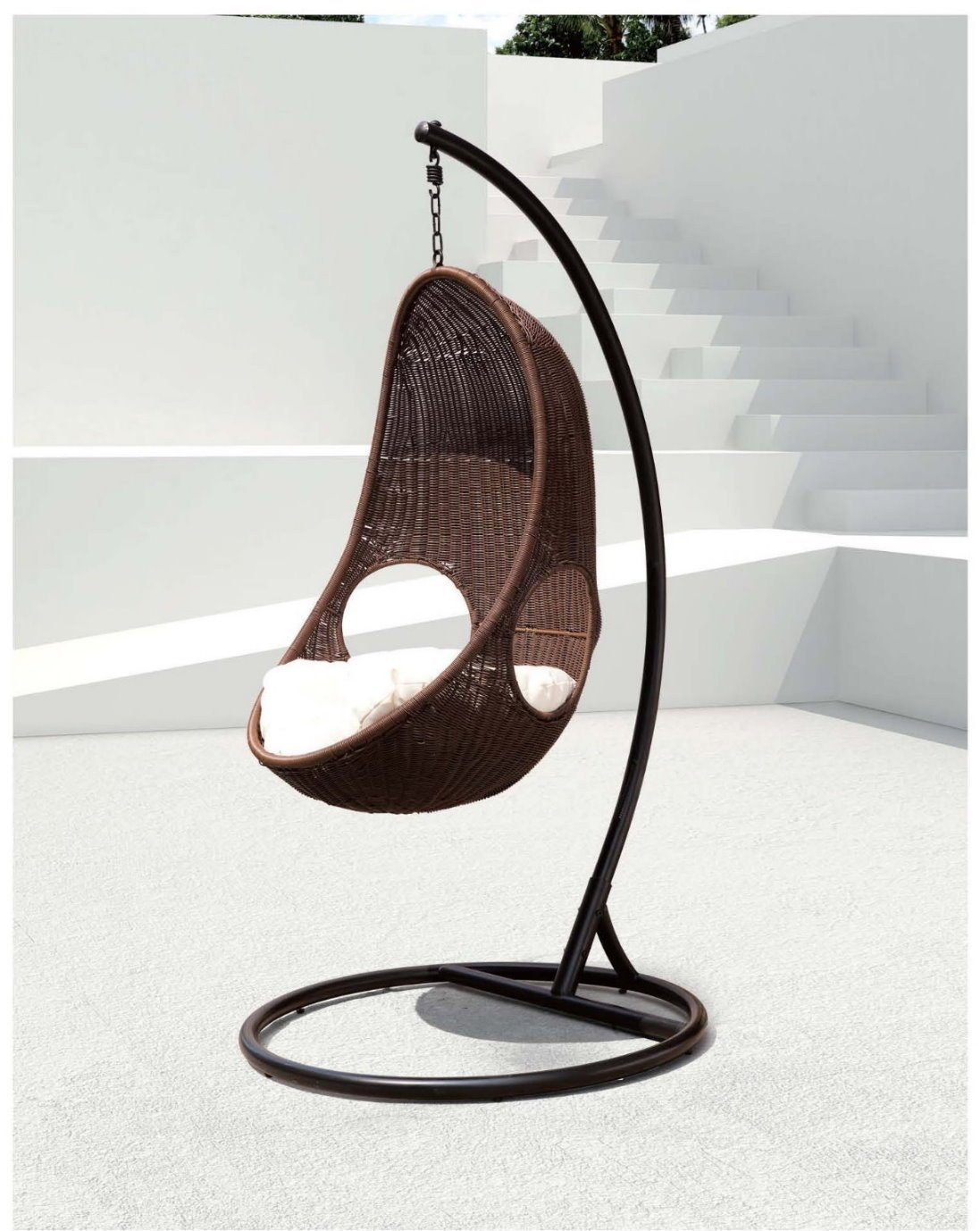 Amazon.com: Chans Patio Bertone U2013 Soft Touch Cozy Egg Shape Swing Chair  Model U2013 Y9063: Kitchen U0026 Dining