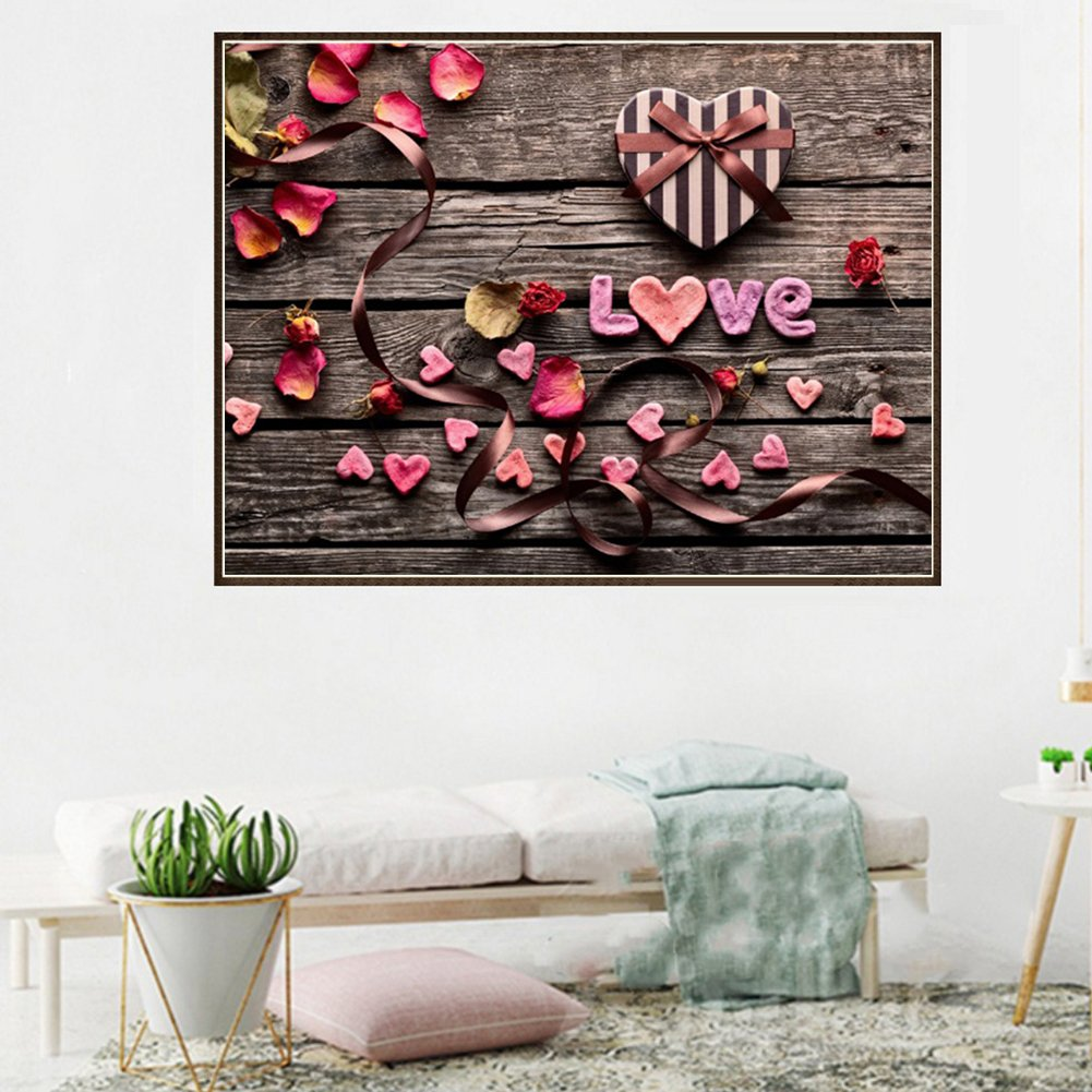 Diamond Embroidery Paintings Cross Stitch for Home Decor Love Heart Flower 11.81 x 15.75 inch Toile YUnnuopromi DIY 5D Diamond Painting by Number Kits