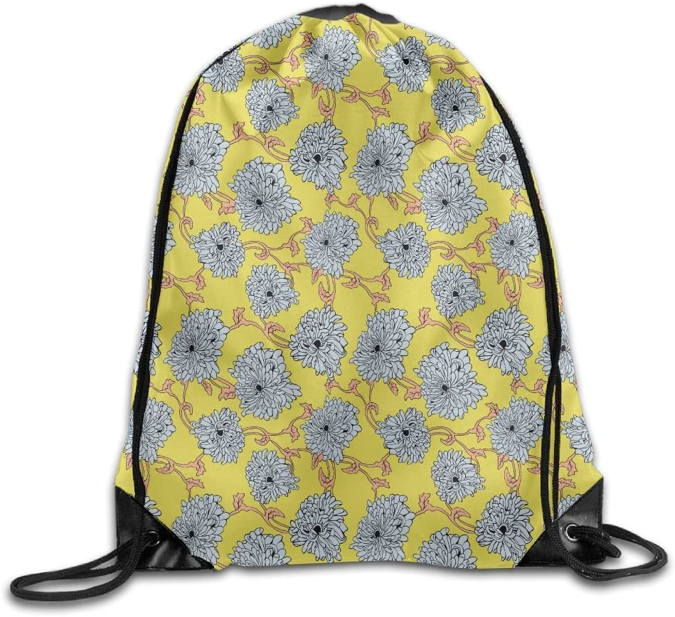 VIMUCIS Yellow Floral Drawstring Backpack Rucksack Shoulder Bags Training Gym Sack For Man And Women