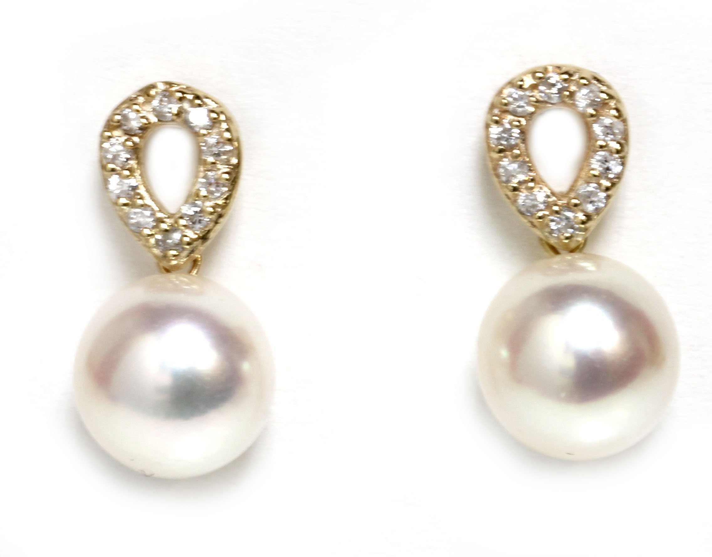 Akoya Pearl Diamond Unify Earrings 8.5 - 8 MM 14k White or Yellow Gold Top Quality (Yellow Gold-AAA Surface)