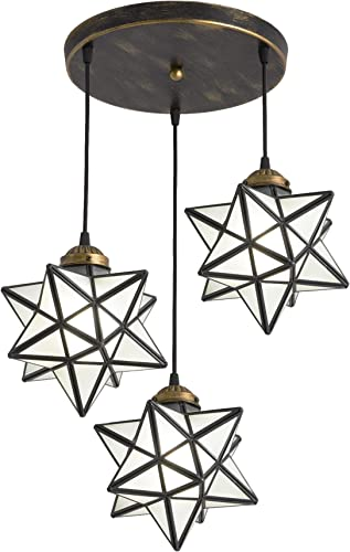 HAIXIANG Vintage 3 Lights Chandelier Moravian Star Hanging Light Modern Contemporary Ceiling Light Fixtures Rustic Lighting Frosted Glass Pendant
