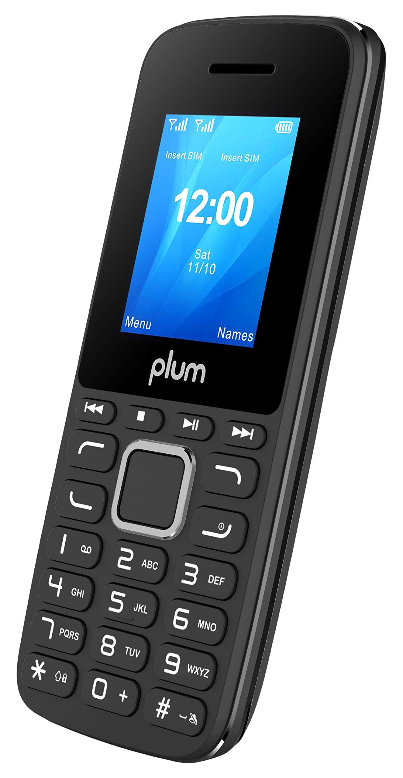 Plum Unlocked Cell Phone GSM Worldwide Dual Sim Camera FM Radio Bluetooth MP3 Play SD Card Slot Feature, 1.8'' - Black