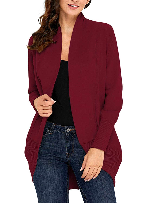 Burgundy Futurino Women's Long Sleeve Open Front Lightweight Soft Knit Cardigans Sweaters