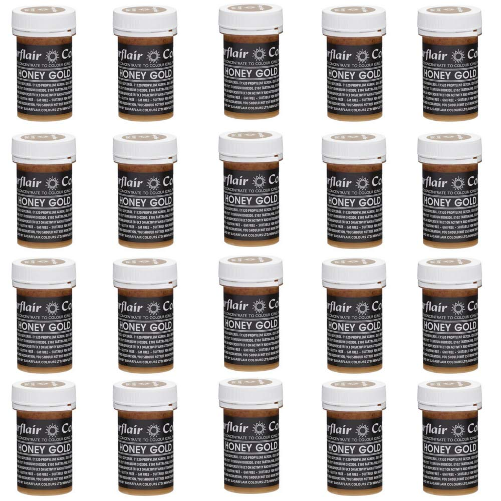 20 x Sugarflair HONEY GOLD Pastel Edible Food Colouring Paste for Cake Icing 25g