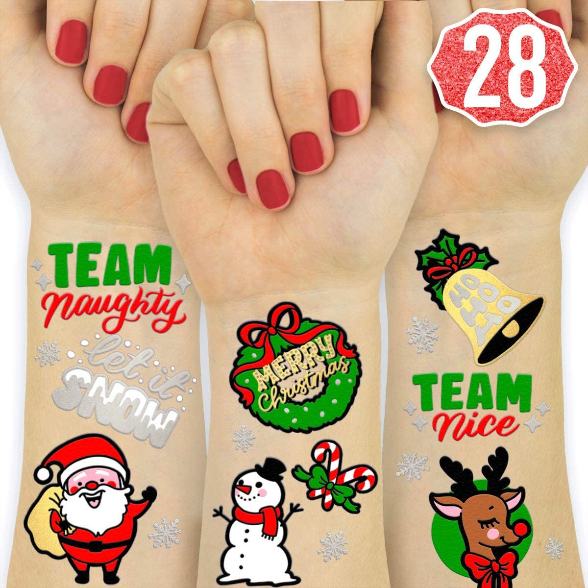 xo  Fetti Christmas Party Decorations Tattoos - 28 Glitter Styles   Merry Christmas Party Favors  Christmas Eve  Xmas Tree   Lights  Santa  More