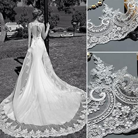 "Stunning 55/"" Wide Beaded Bridal Lace Fabric Ivory Sequin Wedding Dress Lace 1 Y"