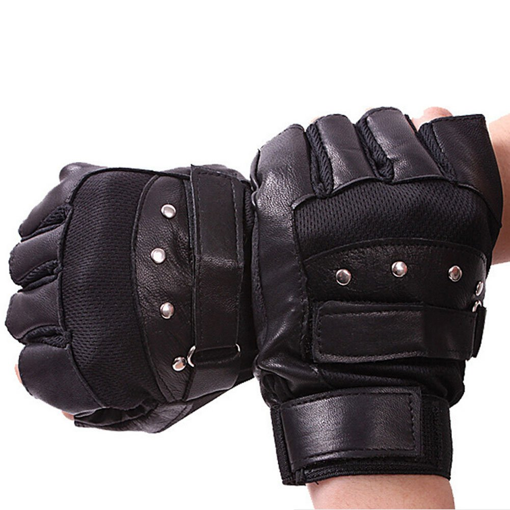 ORVR Rivet Sheepskin Vented Black Fingerless Gloves Motorcycle Driving Cycling Sports