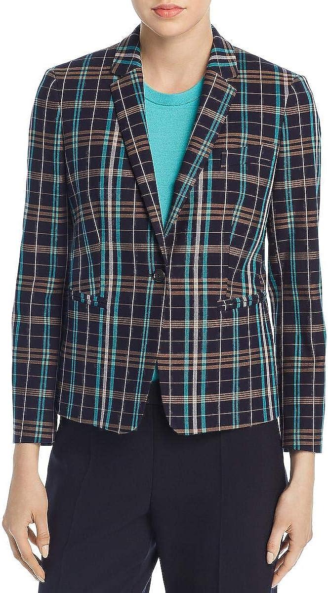 Hugo Boss BOSS Womens Jilesa Plaid Office Wear One-Button Blazer