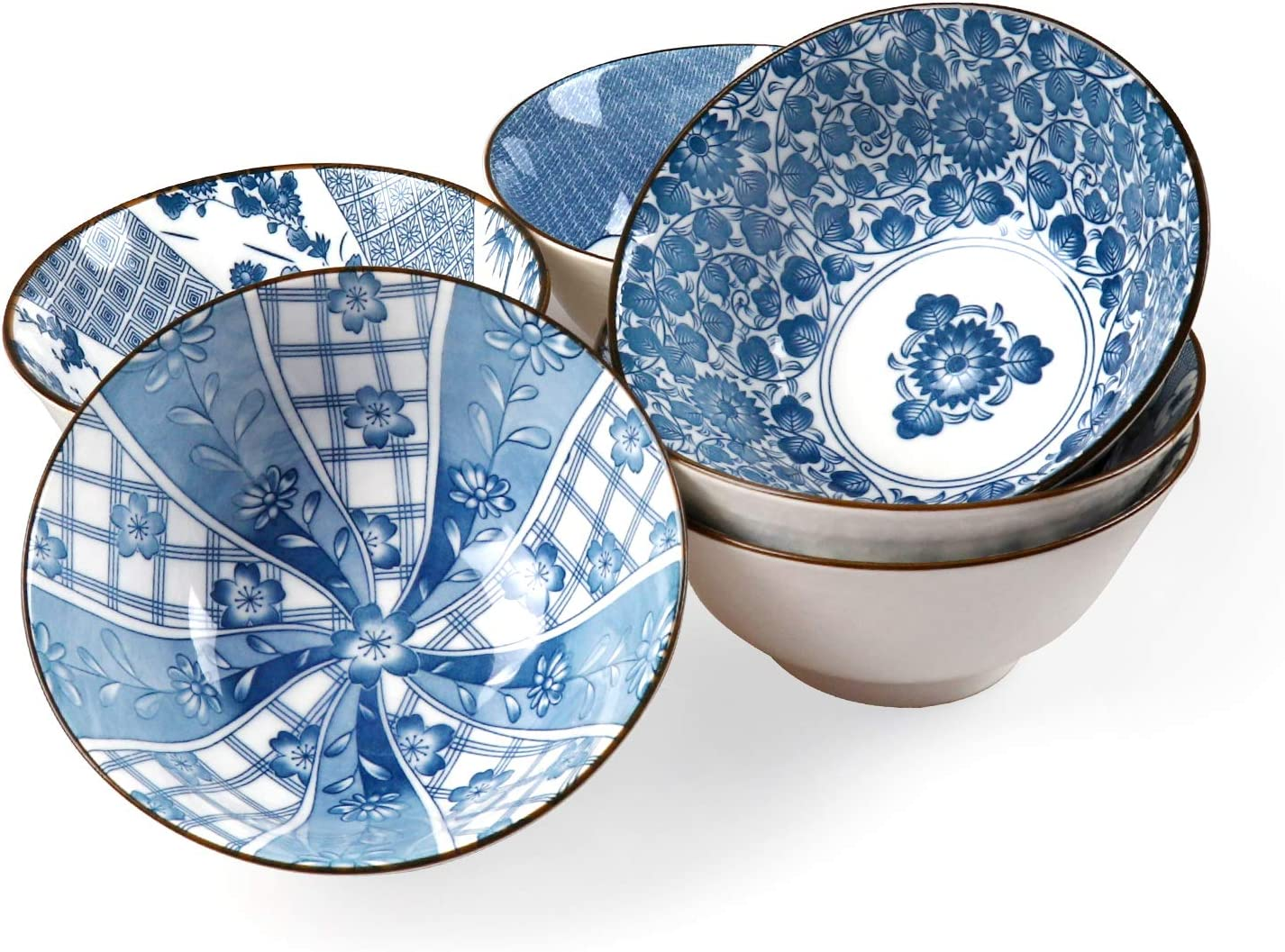 Ceramic Bowl for Soup, Rice, Salad, Assorted Patterns 6 inch Bowls, Blue and White, Bowl set of 6