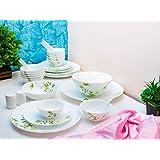 LaOpala Vivid Green Dinner Set of 36 Pcs,White