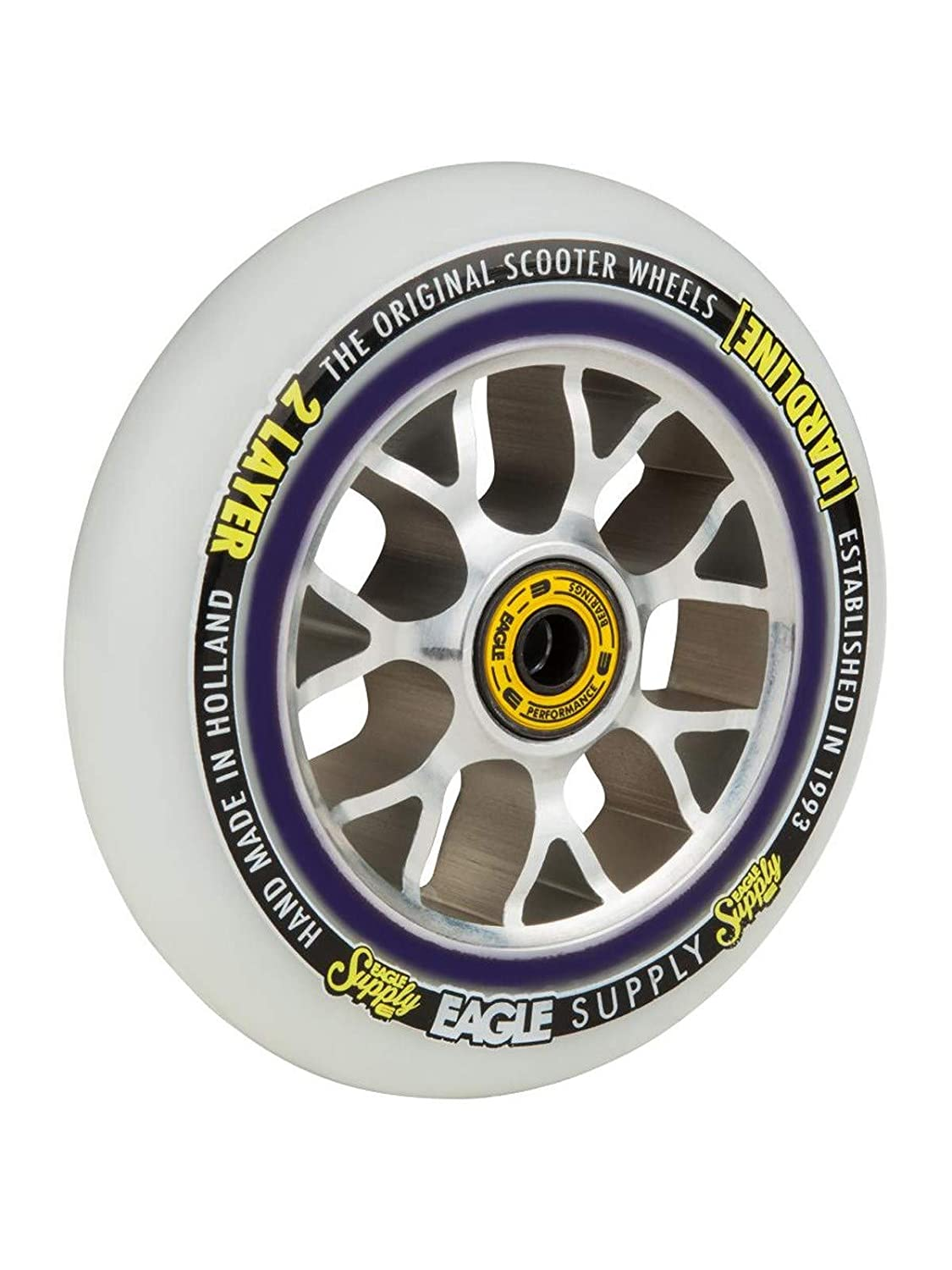 115mm Single Scooter Wheel Eagle Supply Silver-White H-Line X6 Snowballs