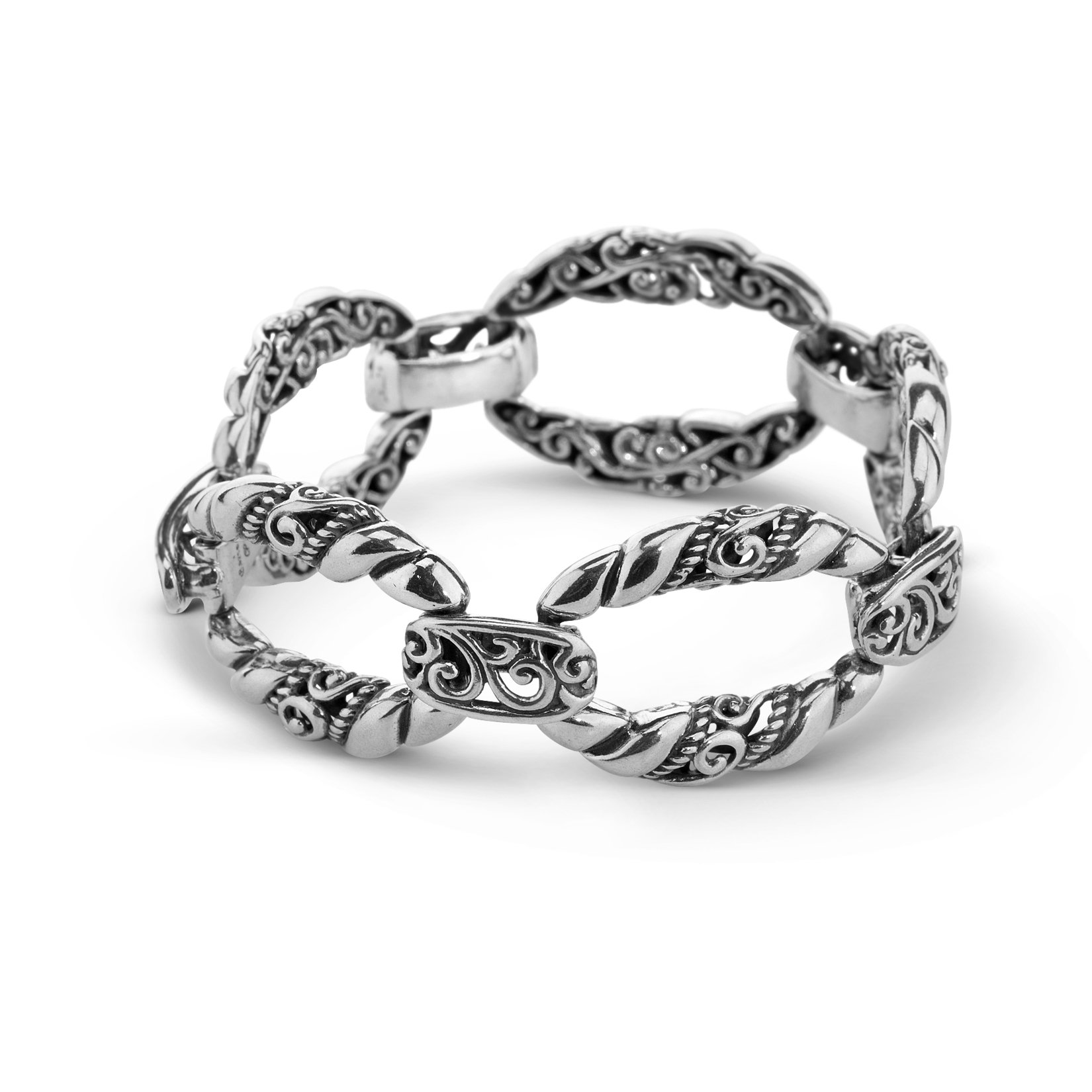 Carolyn Pollack Signature Genuine .925 Sterling Silver Link Bracelet