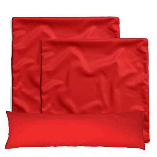 amato Home - Pack de 2 fundas de cojín / almohada cuadrada - Decoración para cama y sofá - 100% algodón - Apto para dormitorio infantil, rojo, 40 x ...