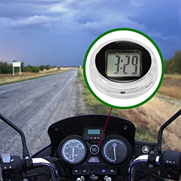 FORNORM Motorcycle Clock Waterproof Stick On, Universal Small Digital Clock  for Motorbike, 3M sticker, 1 1 * 0 4