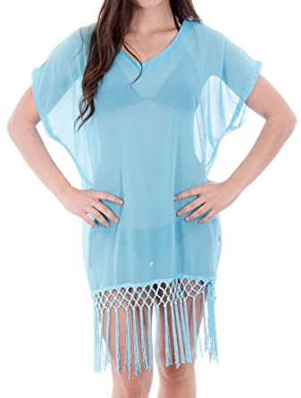 04af7ad784b0c Harcadian Bohemia Beach Dress Coverup For Swimwear Top Tassels Swimsuit  Cover-up Sky Blue at Amazon Women s Clothing store