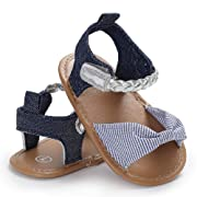 """Bebila Baby Girls Shoes PU Leather Soft Sole Baby Summer Sandals Outdoor Bowknot Infant Toddler Shoes (0-6 Months/US 3.5/4.33"""", Light Blue)"""