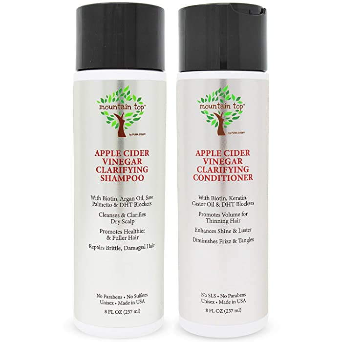 MOUNTAIN TOP Apple Cider Vinegar Shampoo & Conditioner Set (2 x 8oz) with Biotin, Castor Oil - For Fuller & Thicker Hair, Reduced Frizz, Split Ends - Paraben, Sulfate Free, All Hair Types, Men & Women