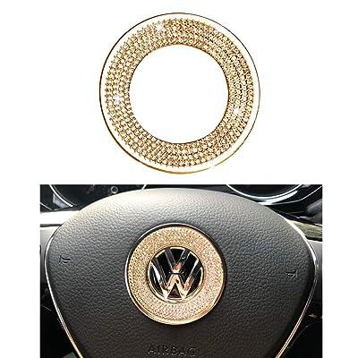 1797 Compatible Steering Wheel Logo Caps Decals Sticker for VW Volkswagen Accessories Parts Bling Jetta Passat Golf Tiguan Arteon Atlas Covers Interior Decoration Trim Women Men Crystal Gold: Automotive