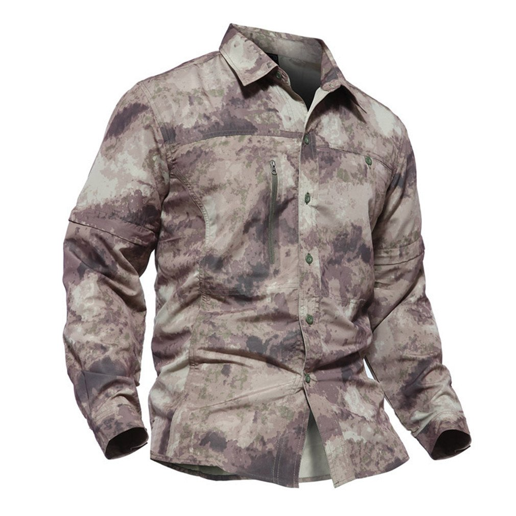 MSMIRROR Mens Army Military Shirt Quick Dry Tactical Removable Long Sleeve Shirts