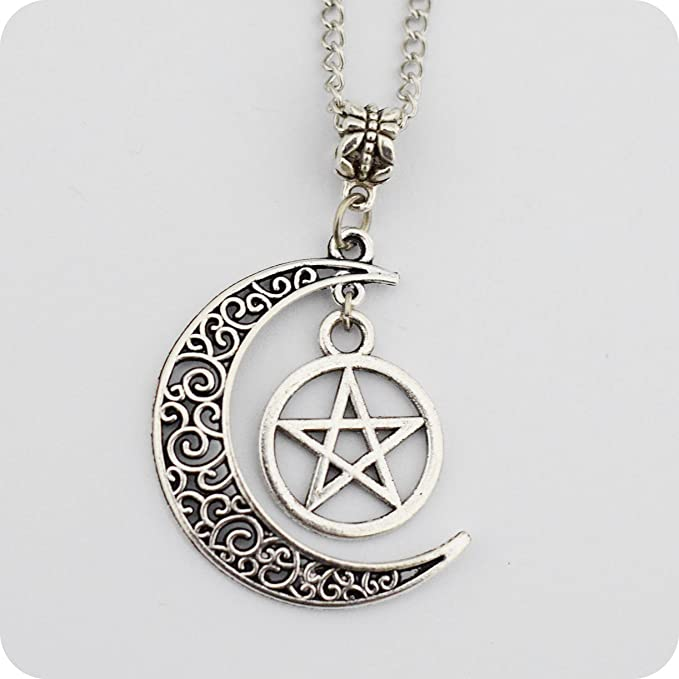 Amazon Silver Pentagram And Crescent Moon Pendant Wiccan