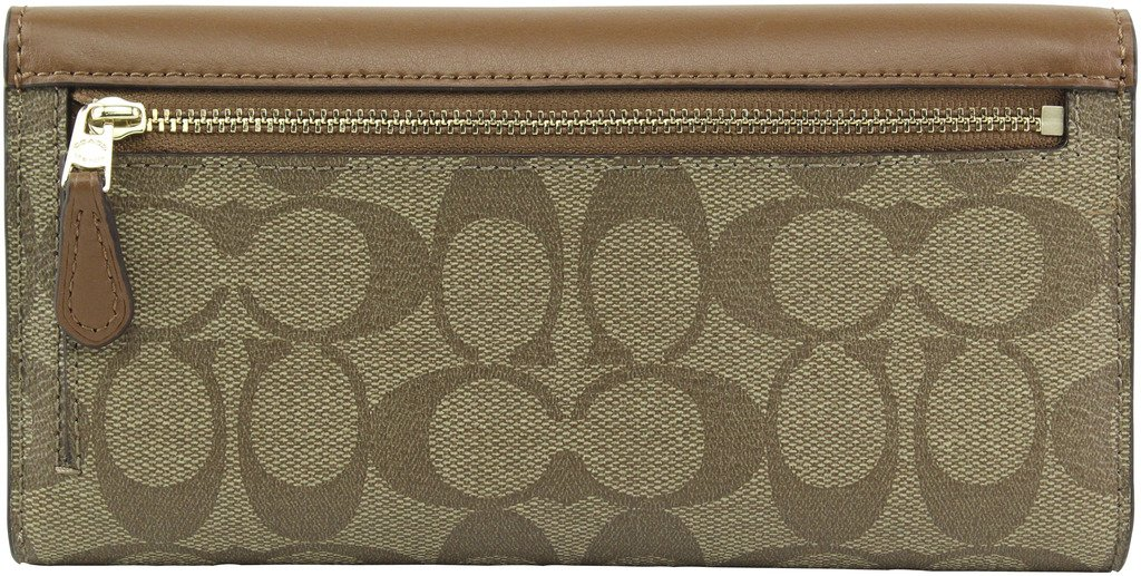 Coach Signature Leather-Trim Checkbook