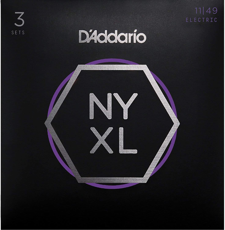 3 Sets D/'Addario NYXL1149-3P Medium 11-49 Nickel Wound Electric Guitar Strings
