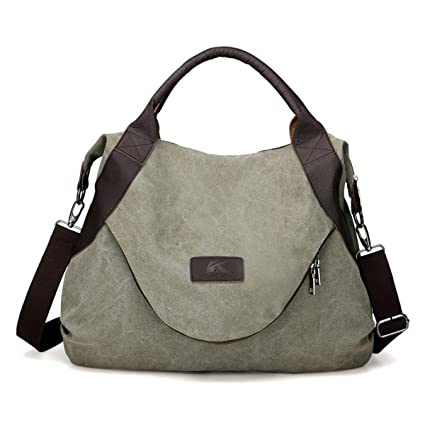 Image Unavailable. Image not available for. Color  Wyhui Large Pocket  Casual Women s Handbag Shoulder Cross body Handbags Canvas Leather Large  Capacity Bags ... 45f668c066ca9