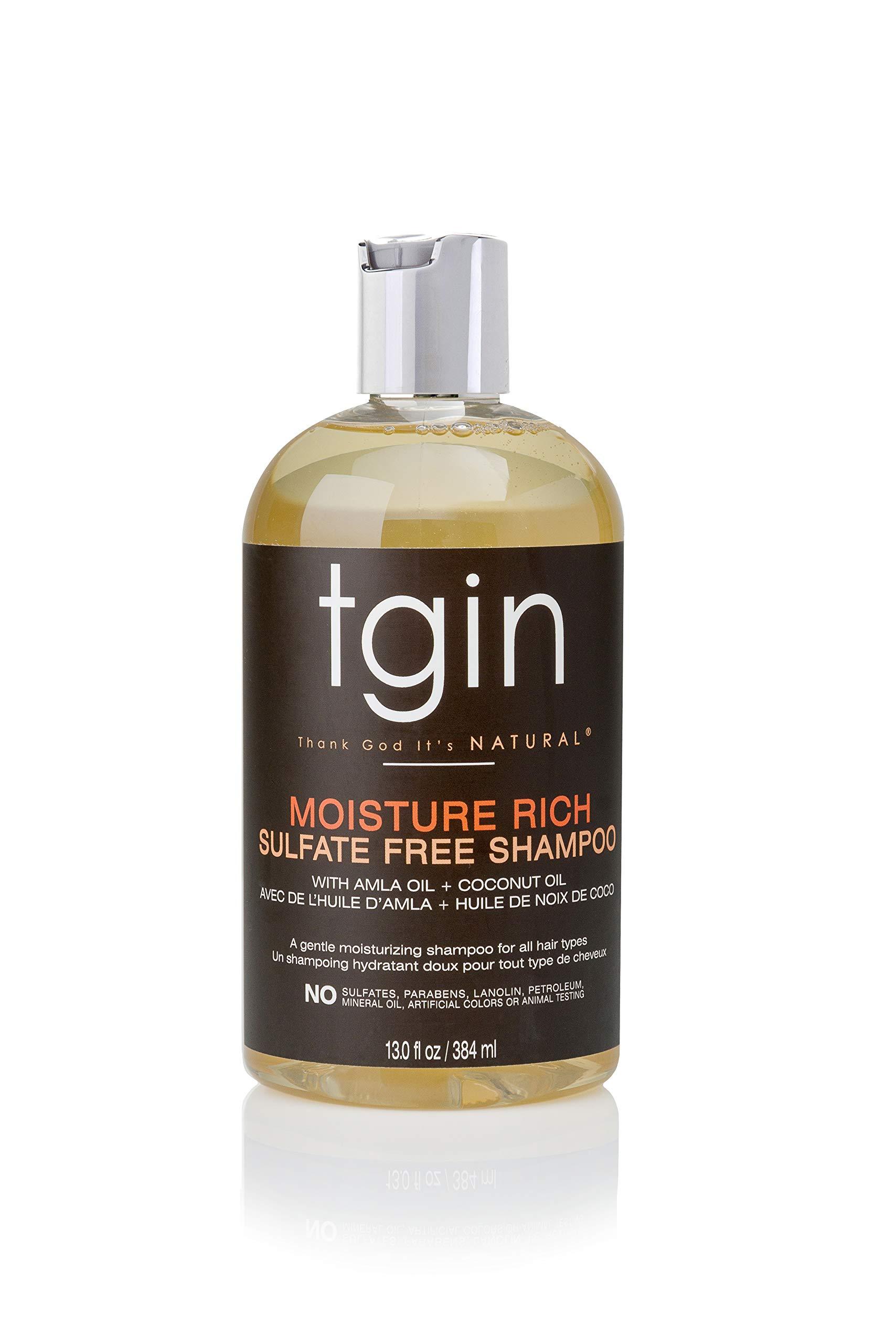 TGIN Thank God It's Natural Moisture Rich Sulfate Free Shampoo With Amla Oil + Coconut Oil 13 Fl oz