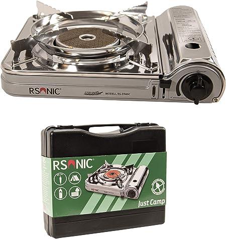 RSonic - Hornillo de gas portátil por infrarrojos con maletín de transporte, quemador de cerámica con potencia turbo, cocina de camping