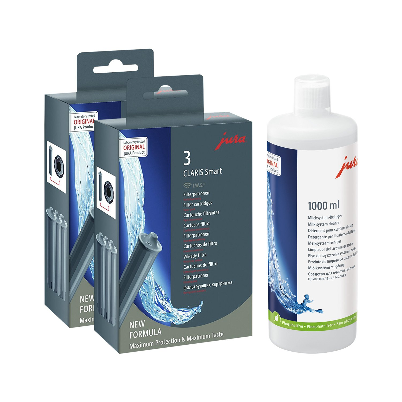 Jura 71794 + 62536 Kombi-Pack, Claris Filterpatrone Smart (2 x 3er-Pack) + 1000ml Cappuccino-Reiniger