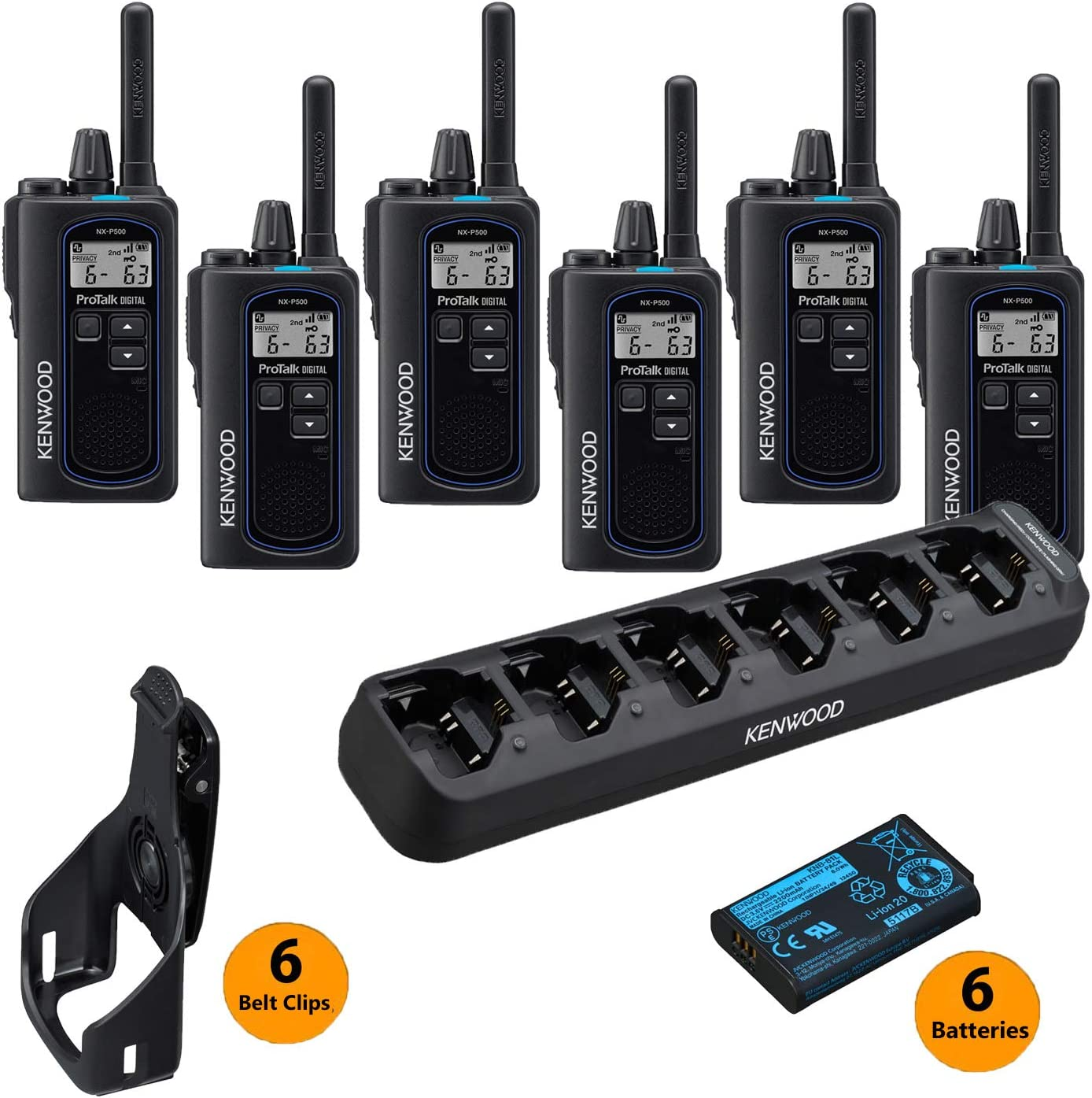 6 Kenwood ProTalk Digital NX-P500 UHF 2-Way Business Radios 1 Kenwood KSC-506K 6 Radio Charger – Bulk Pack