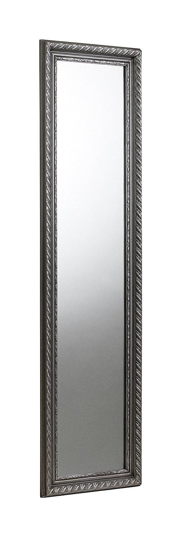Hardwood Frame with Resin Moulding Pewter Julian Bowen Allegro Wall Hanging Dress Mirror