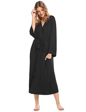 Luxilooks Women s Long Soft Kimono Robes Knit Bathrobe Comfort Sleepwear  Loungewear  Amazon.in  Clothing   Accessories 11615993d