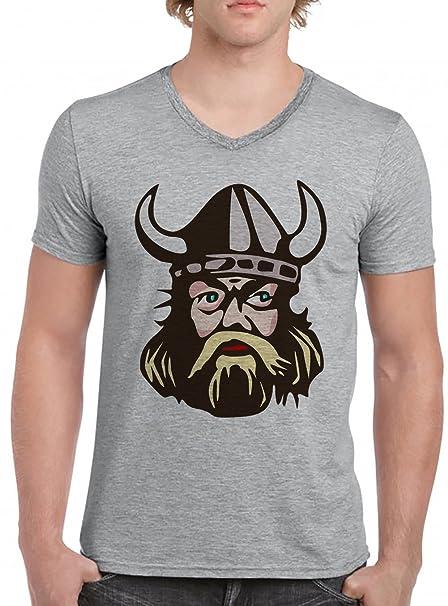 Vikingo V-Cuello Camiseta Para Hombre Gris Todos Los Tamaños | Mens V-Neck