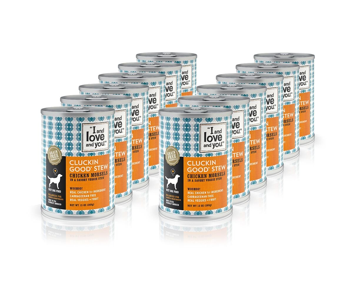 """I and love and you"""" Cluckin' Good Stew Grain Free Canned Dog Food, 13 oz (Pack of 12)"""
