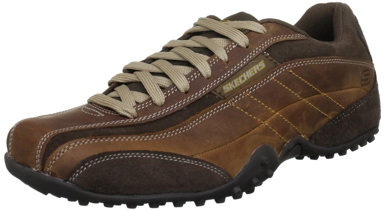 Skechers - Zapatillas de deporte de cuero para hombre 41 EU|Marrón