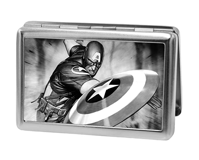 Amazon marvel comics captain america throwing shield pose marvel comics captain america throwing shield pose metal multi use wallet business card reheart Image collections