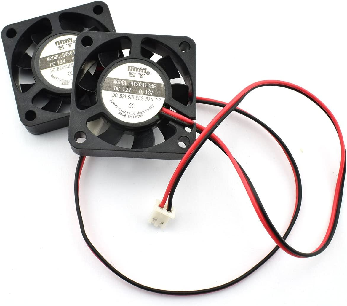 ZYAMY 2-Pack DC 12V Mini Cooling Fan 2Pin Brushless Small Exhaust Fan for 3D Printer Makerbot Accessories Computer CPU Cooler 40x40x10mm