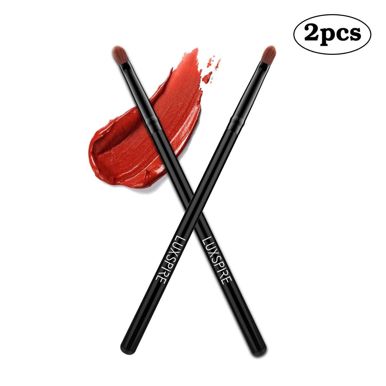 Luxspire 2PCS Professional Lip Brushes Lipstick Lip Wands Gloss Applicators Makeup Lip Liner Brush Cosmetics Make Up Tools, Black
