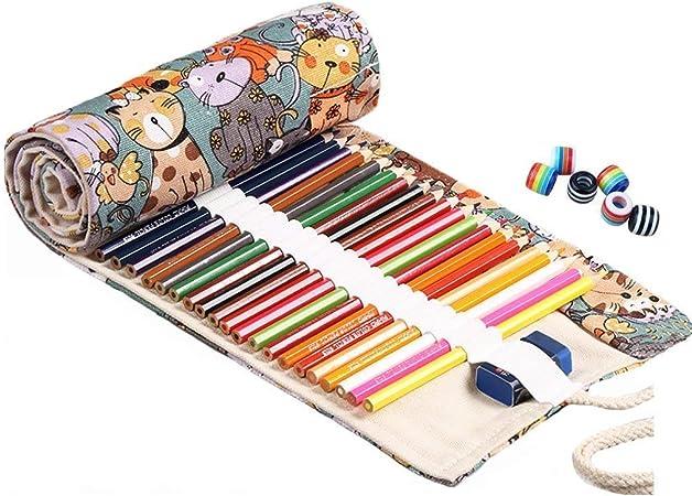 Abaría - Bolsa de lápiz de colores, grande estuche enrollable 72 lápices, portalápices de lona, organizador para arte, gota: Amazon.es: Hogar