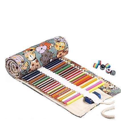 abaría - Bolsa de lápiz de Colores, Mediana Estuche Enrollable 48 lápices, portalápices de Lona, Organizador para Arte, Gato