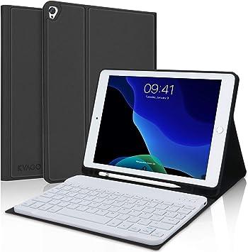 KVAGO Funda con Teclado para Nuevo iPad 10.2, Bluetooth Español Teclado para iPad 10.2 2020(8ª Gen)/ iPad 10.2 2019(7ª Gen)/iPad Air 3/iPad Pro 10.5, ...